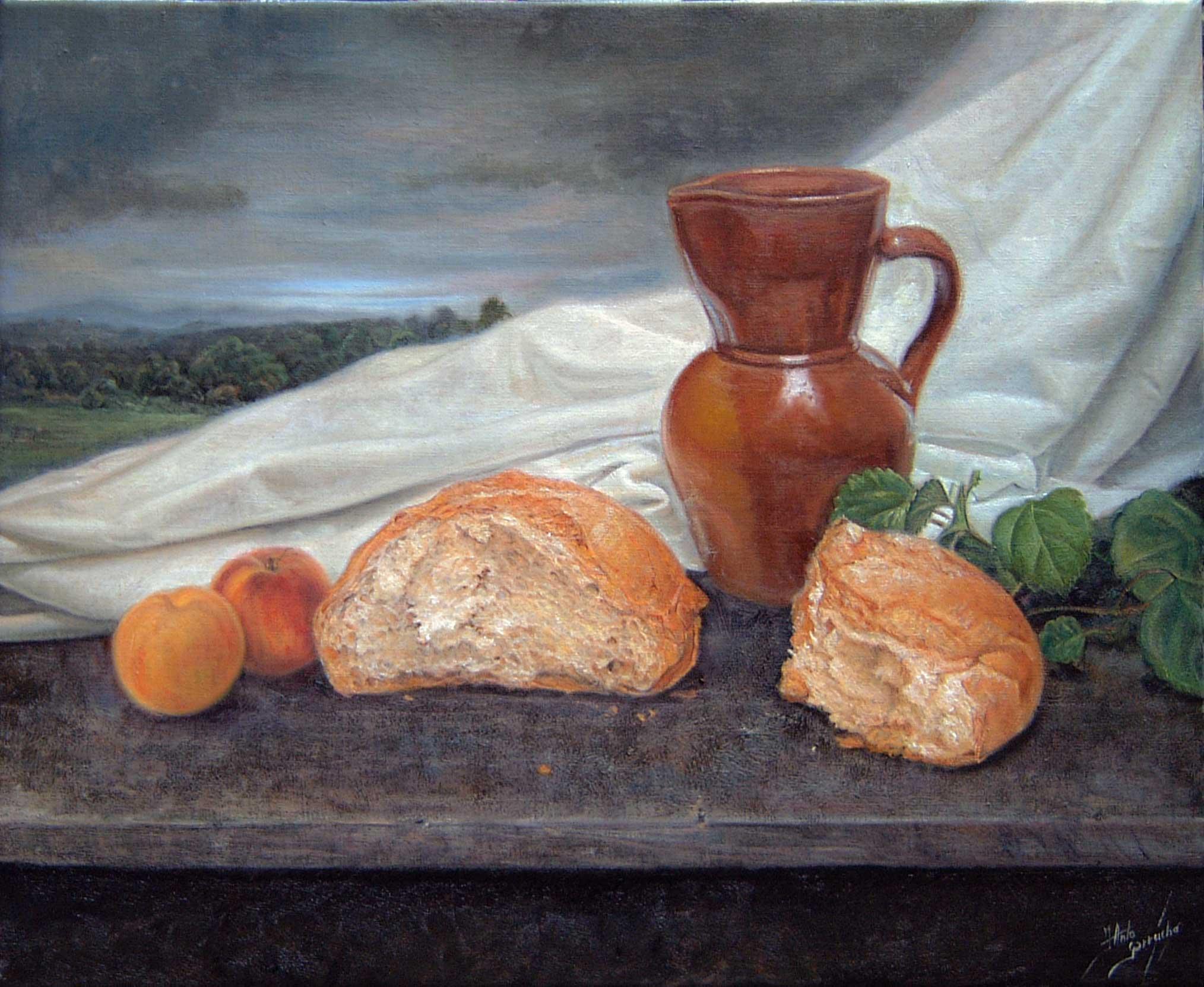 Pan, melocotones y jarra