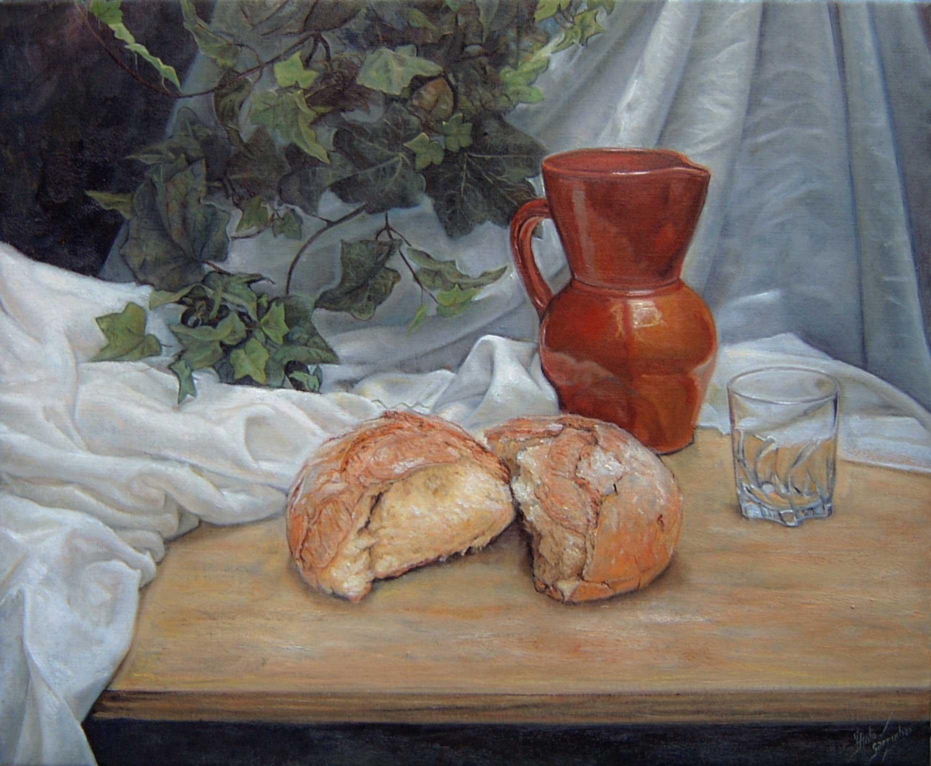 Pan, hiedra y jarra