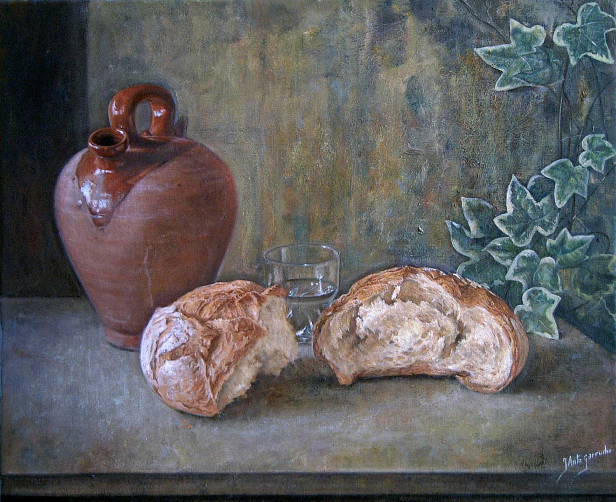 Botijo, pan y hiedra