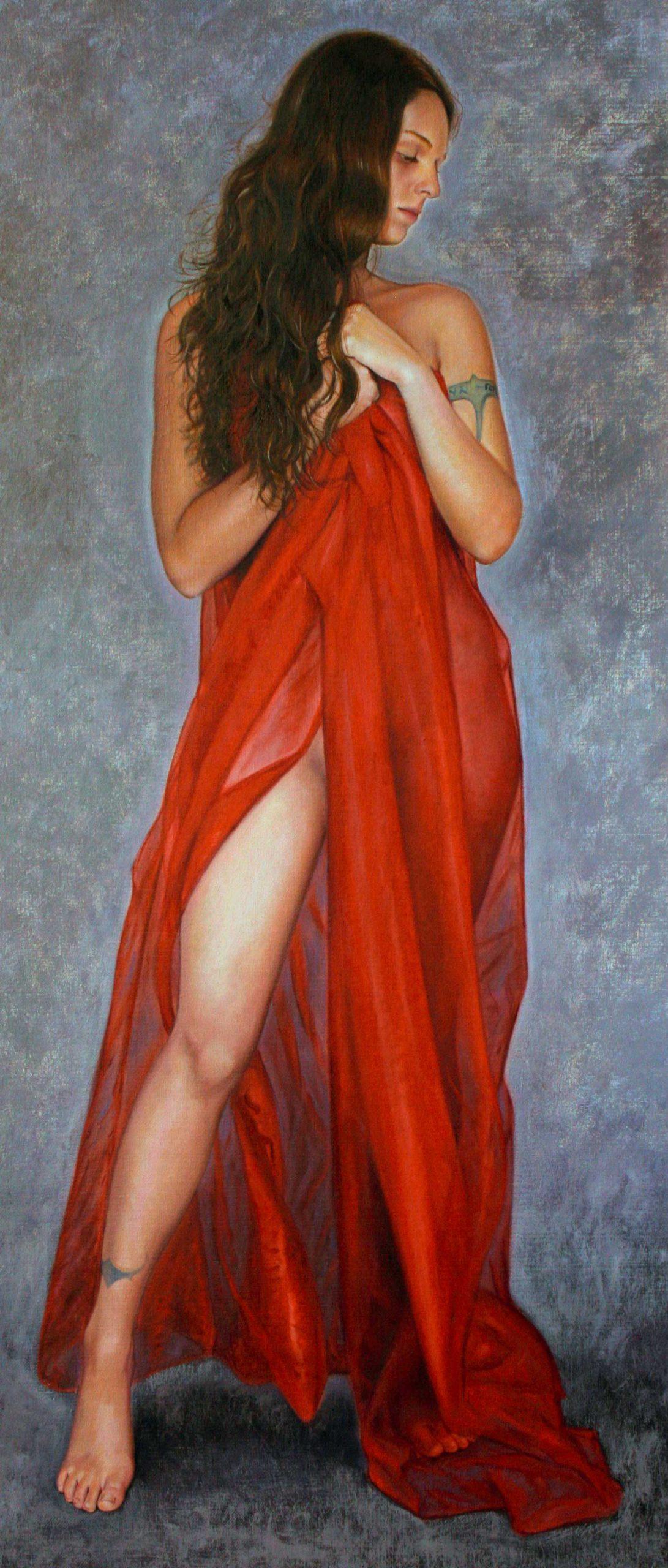 Mujer con tul rojo