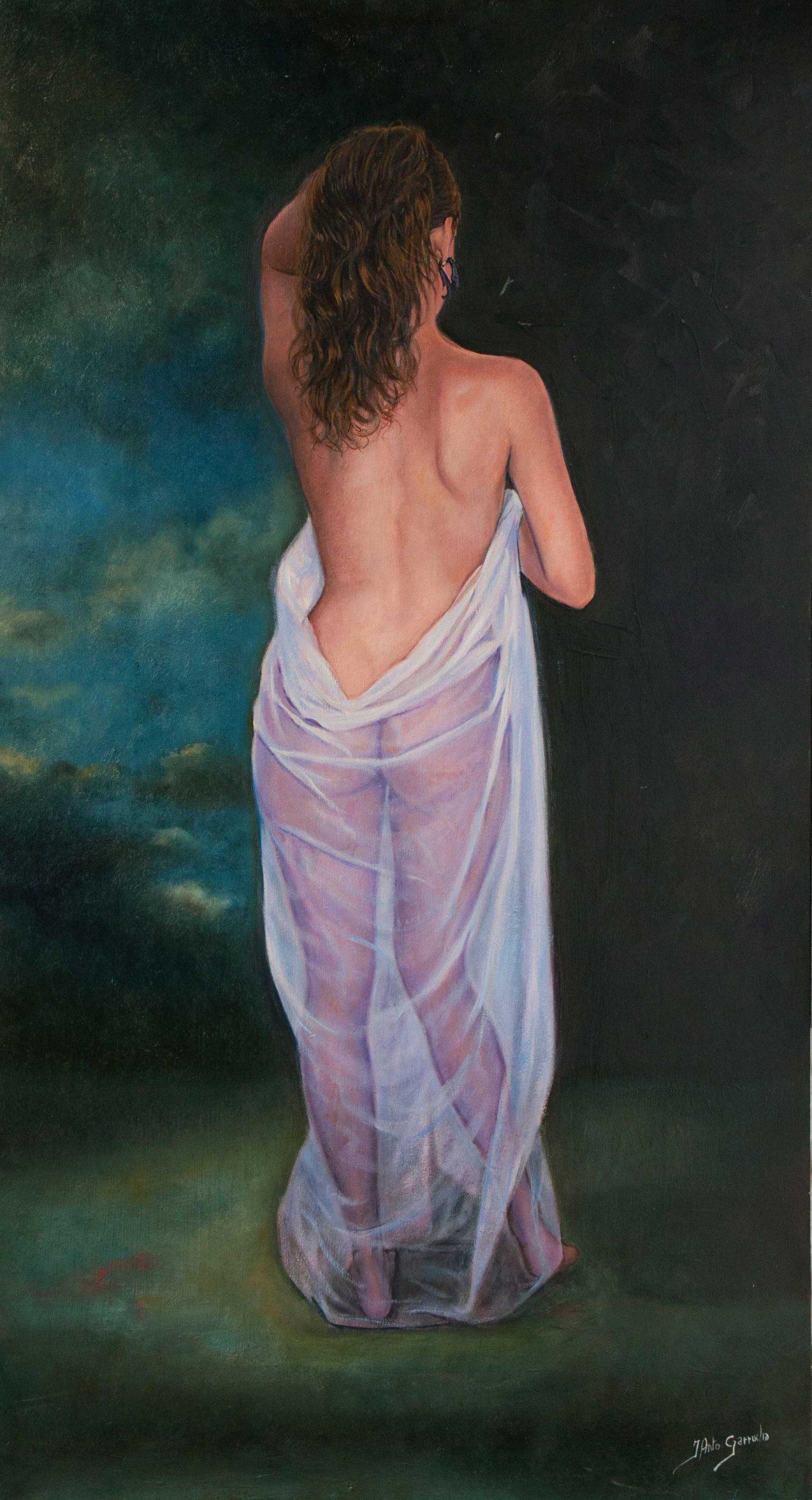 Desnudo con tul blanco