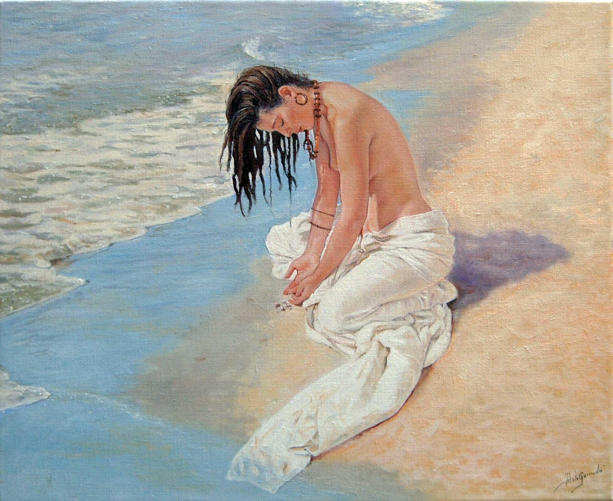 Mujer con rastas en la playa